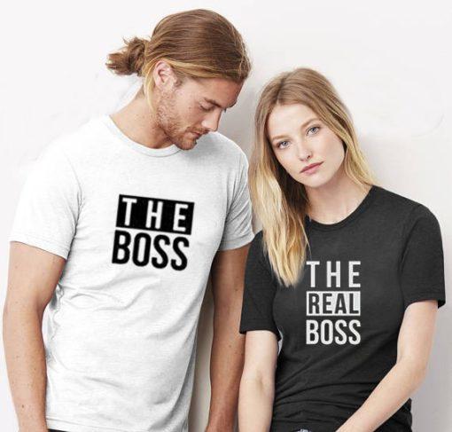 זוג חולצות לאישה ולגבר The Boss & The Real Boss