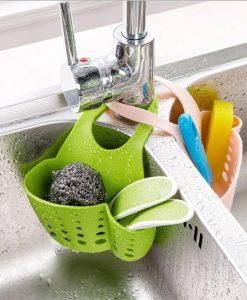 מתקן לספוג כיור במטבח סלסלת אחסון לתלייה על הברז
