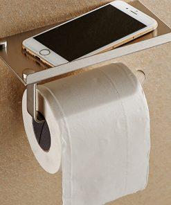 מתקן נירוסטה לנייר טואלט עם מדף לטלפון