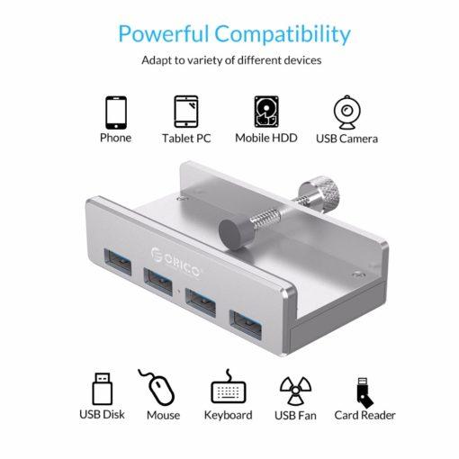 מפצל USB מאלומיניום 4 יציאות עם קליפ הידוק לשולחן