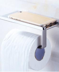 מתקן נירוסטה לנייר טואלט עם מדף לטלפון הנייד